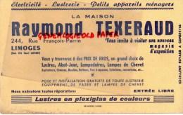 87 - LIMOGES - BUVARD RAYMOND TEXERAUD- 244 RUE FRANCOIS PERRIN- ELECTRICITE - LUSTRERIE - Electricity & Gas