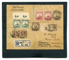 Britische Besetzung Deutsches Reich Kamerun marken mit Aufdruck C.E.F. Brief Einschreiben 1919 (Mit Attest)