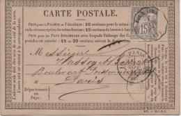 CARTE PRECURSEUR     TYPE SAGE  CACHET   FOURMIES         1876 - 1849-1876: Klassik