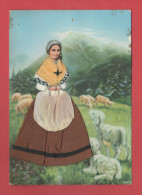 00/2  Carte Fantaisie Brodée Avec Tissu - Bernadette Soubirous Ruban  N° 3270  RECTO VERSO - Bordados
