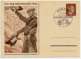 DANZIG 1942 3 Pfg Hitler Tag Der Briefmarke Postal Stationery Card Cancelled With Danzig  Postmark.  Michel P308/03 - Danzig