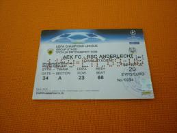 AEK-RSC Anderlecht UEFA Champions League Football Match Ticket Stub 26/09/2006 (hologram) - Match Tickets