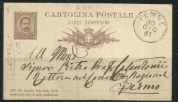 ITALIA REGNO CARTOLINA POSTALE INTERO USATO  - ITALY KINGDOM POSTCARD USED 30 12 1881 PENNE 10 CENTESIMI - Stamped Stationery