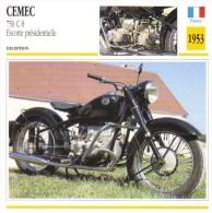 Cemec 750cc C8 Escorte Présidentielle  -  1953   -  Fiche Technique Moto (Francaise) - Fiches Illustrées