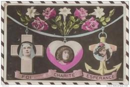 N1130 FOI CHARITE ESPERANCE CROIX COEUR ANCRE 1908 - Christianisme