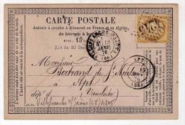 !!! CARTE PRECURSEUR CERES CACHET DE VILLEFRANCHE SUR SAONE (RHONE) 1876 - Cartoline Precursori
