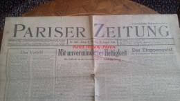 Journal Allemand De L´occupation à PARIS - 14 Aout 1944 - Juste Avant Le Libération - PARISER ZEITUNG - TOP RARE - Historische Documenten