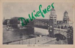 Feldpostkarte Der Verpflegungsstelle Cöln-Deutz, Köln, Hohenzollernbrücke, Um 1917 - Ausrüstung