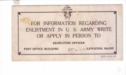 Blotter Buvard  Enlistment Us Army  Information Pamphlet Card LEWISTON ME Soldier Soldat Americain 1918 - Unclassified