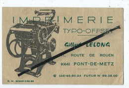 Carte  De Visite - Imprimerie Typo Offset - Gilbert Lelong  - Pont De Metz - Cartes De Visite