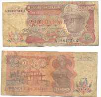 Zaire 2.000 Zaires 1991 Pk-36-a Ref 22278 - Zaire