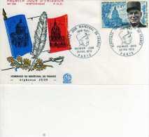Enveloppe Premier Jour FDC,Hommage Au Marechal De France Alphonse Juin, Paris  28 Fev 1970, Drapeau, Plume - FDC