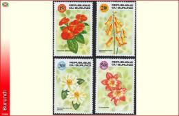 Burundi 0982/85**  Fleurs MNH
