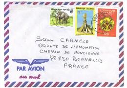 VEND TIMBRES DU TOGO N° 2470 + 2528 + SERVICE 6 , SUR LETTRE , COTE : ?,?, !!!! - Togo (1960-...)