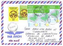 VEND TIMBRES DU TOGO N° 3160 X 5 + SERVICE 3+8 , SUR LETTRE , COTE : ?,?, !!!! - Togo (1960-...)