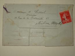 Cachet Lineaire Coincy Aisne Sur 10c Semeuse Pour Millau 1914 Sur Lettre Enveloppe - Marcophilie (Lettres)