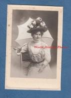 Photo Ancienne - Portrait D'une Dame Avec Beau Chapeau Et Parapluie - 1908 - Robe - Mode - Photographie Pierre PETIT - Photos