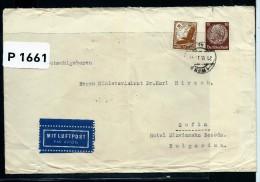 AUTRICHE- LETTRE DE VIENNE  POUR LA BULGARIE 1939 AFF TIMBRES ALLEMAND CACHET TELEGRAPHIQUE AU DOS DE VIENNE   A  VOIR - 1918-1945 1. Republik