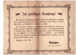 Alte Werbung , 1865 , Hof- Kalligraph Gander In Mainz , Feder , Federhalter , Kalligraphie !!! - Federn