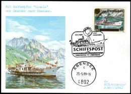 ÖSTERREICH 1989 - Schiffspost / Raddampfer Gisela  Gmunden Nach Ebensee - Sonderstempel FDC - Schiffe