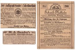 3x Werbung Von Hof- Kalligraph Gander In Mainz , 1886 , Feder , Federhalter , Kalligraphie !!! - Federn