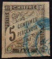 FRANCE - 5 C. Noir Oblitéré TTB Avec Oblitération Bleue - Portomarken