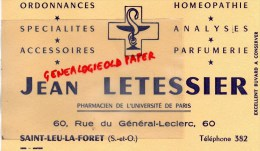 95 - SAINT LEU LA FORET - BUVARD JEAN LETESSIER - PHARMACIEN - PHARMACIE -60 RUE DU GENERAL LECLERC -PARFUMERIE - CADUCE - Blotters