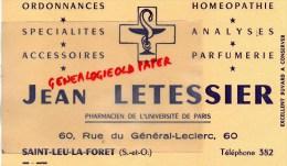 95 - SAINT LEU LA FORET - BUVARD JEAN LETESSIER - PHARMACIEN - PHARMACIE -60 RUE DU GENERAL LECLERC -PARFUMERIE - CADUCE - Buvards, Protège-cahiers Illustrés