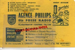 81 - CASTRES -  BUVARD AGENCE PHILIPS - ETS FOSSE RADIO- 22 RUE HENRI IV- CREDIT CETELEM- BRANDT- HOOVER- 1956 - Electricity & Gas