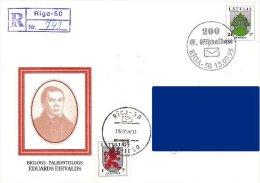 Latvia Lettland Lettonie 1995 Biologist Paleontologist Eduards Eihvalds 200 Years - Special Postmark (addressed Cover) - Latvia