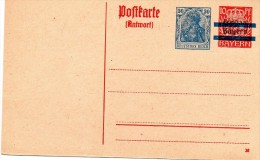 Ganzachen.entier Postal Avec Réponse Payée  .30 Deutsches Reich Bleu & Surcharge Noire Bayern Sur 10 Pf Rouge - Germany
