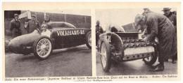 Original Zeitungsausschnitt - 1928 - Raketenwagen Auf Der Avus , Berlin , Ing. Volkhart , Automobil , Oldtimer !!! - Voitures