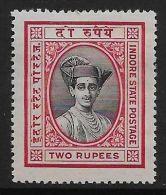 INDIA-INDORE SG31 1927 2r BLACK & CARMINE MTD MINT - India (...-1947)