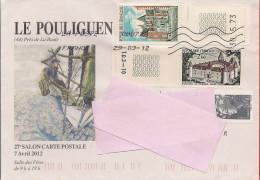 Enveloppe Bourse Aux Collections Le Pouliguen 2012, Timbre Le Clos Lucé, Timbre Bazoches Du Morvan - Marcophilie (Lettres)