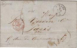 AIN - Cachet D´entrée En France- CAD-3 Sardaigne 3 Culoz-Milano- Lettre Pour Paris-1860 - Marcophilie (Lettres)
