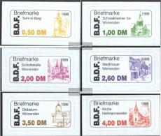 Fellbach (Privatpost) 1B-6B (kompl.Ausg.) Bläuliches Papier Postfrisch 1998 Regionale Sehenswürdigkeiten - Poste Privée