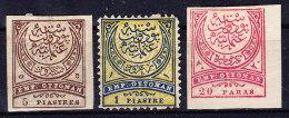 Türkei 1876-88 Ungebrauchte Zusammenstellung Von 3 Marken : 1 Pia, 5 Pia Ungezähnt Und 20 Paras Ungezähnt - 1858-1921 Empire Ottoman