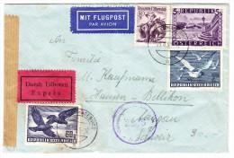 Österreich Zensur Express Luftpost Brief 23.11.1951 Hof-Leithagebirge Nach Hausen Bellikon CH - Luftpost