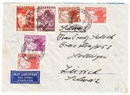 Österreich Luftpost Brief 12.11.1937 Wien Mischfrankatur Brief Nach Zürich - Luftpost
