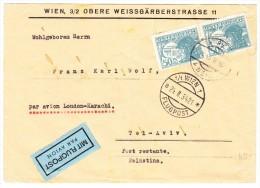 Österreich Luftpost Brief 24.2.1934 Wien Brief Nach Tel-Aviv Palästina - Luftpost