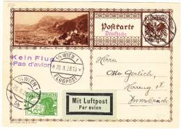 """Österreich Bildpostkarte 28.11.1928 Wien Flugpost Nach Innsbruck Vermerck """"Kein Flug"""" - Ganzsachen"""