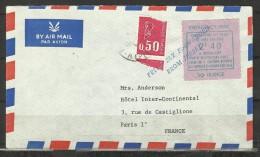 GRÈVE BRITANNIQUE 1971 - BRITISH POSTAL STRIKE - EMISSION LAINÉ DE JERSEY A PARIS  : 2fr40 BLEU SUR VIOLET SUR LETTRE - Strike Stamps
