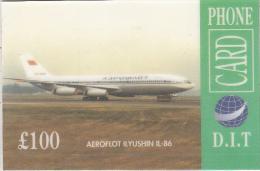 UK - Aeroflot Ilyushin IL-86, D.I.T. Prepaid Card 100 Pounds, Sample - Airplanes