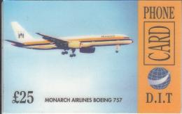 UK - Monarch Airlines Boeing 757, D.I.T. Prepaid Card 25 Pounds, Sample - Vliegtuigen
