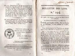 Bulletin Des Lois 294, Du 14 Juillet 1819. Différents Changements Au Niveau Des Communes Dans Certains Départements. - Décrets & Lois