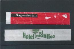 2 Sugar Packages Spain. Bilbao Guggenheim Museum And Hotel El Montico Salamca And Tordesillas. - Zucchero (bustine)