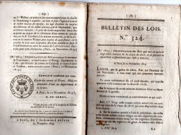 Bulletin Des Lois 324, Novembre 1819. Armée : Répartition Des Hommes De La Classe 1818 Selon Les Départements. - Décrets & Lois