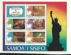 SAM008 - SAMOA - BICENTENARIO INDIPENDENZA STATI UNITI - FOGLIETTO - CATALOGO YVERT - Samoa
