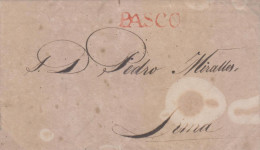 G)1826 PERU, LINEAL ORANGE PASCO CANC., CIRCULATED COMPLETE LETTER TO LIMA, XF - Peru