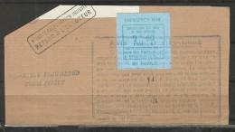 BRITISH POSTAL STRIKE 1971 - EMISSION LAINÉ DE JERSEY A PARIS  : 9fr60 BLEU SUR FRAGMENT DE COLIS AVEC MARQUE POSTALE - Streikmarken